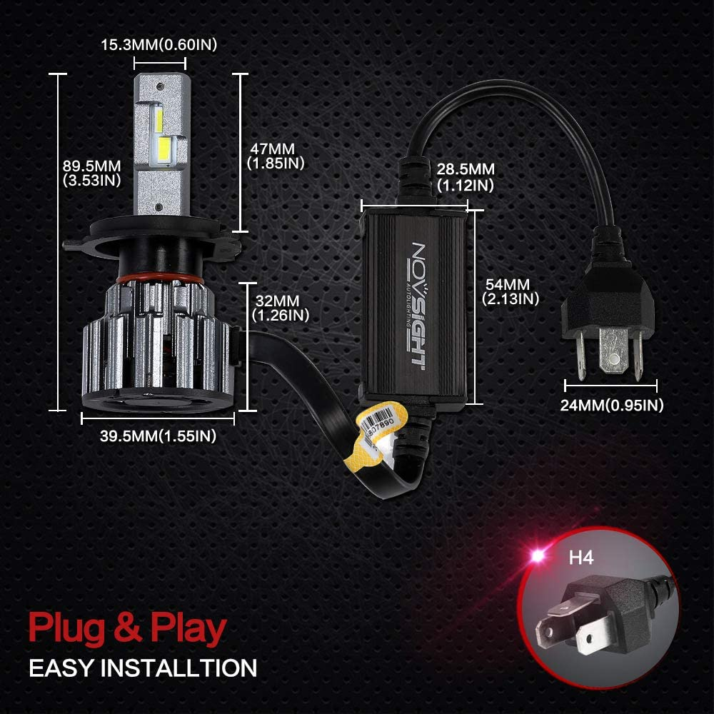High-speed Silent Fan CANbus-Ready 6000K Xenon White 2-Pack 9005//HB3 Led Headlight Bulbs,Novsight 80W 12000LM Super Bright Headlamp Conversion Kit,with Automotive Grade LED Chips