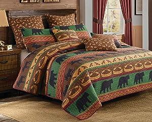 Virah Bella Lodge Preserve 3pc King Size Quilt and Pillow Shams Set; Black Bear Moose Cabin Bedding