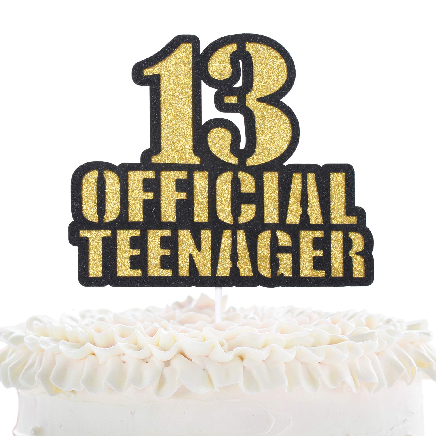 Official Teenager 13 Birthday Cake Topper , Boys Girls 13th Birthday  Ceremony Gold Glitter Cake Décor , Thirteen Years Old Birthday Party  Decoration