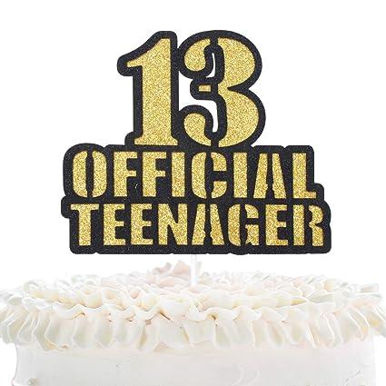 Decoración para tarta de 13 cumpleaños con purpurina dorada ...
