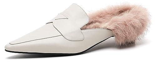 SimpleC Otoño Invierno Impreso clásico Forrado Mocasines Slip-on Mulas de tacón bajo Zapatos Puntiagudos para Mujeres: Amazon.es: Zapatos y complementos