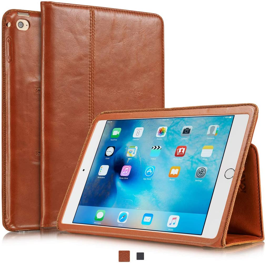 KAVAJ iPad Mini 5 2019 & 4 Case Leather Cover Berlin Cognac-Brown for Apple iPad Mini 5 2019 & 4 Genuine Cowhide Leather with Built-in Stand Auto Wake/Sleep Function. Slim Fit Smart Folio Covers