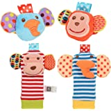 ThinkMax Baby Rattle, 4PCS Baby Wrist Rattle and Foot Rattles Finder Socks Set, Developmental Soft Animal Rattles Infant Baby Toys (Monkey and Elephant)