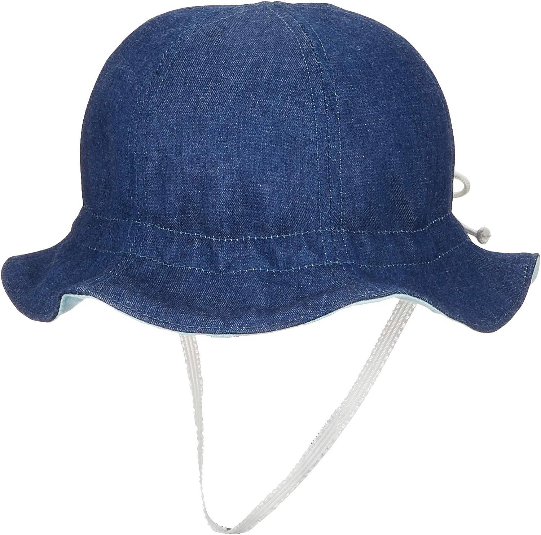 みやけの帽子 くまプリントのハンカチ付きデニムチューリップ帽子 サイズ調整 日本製
