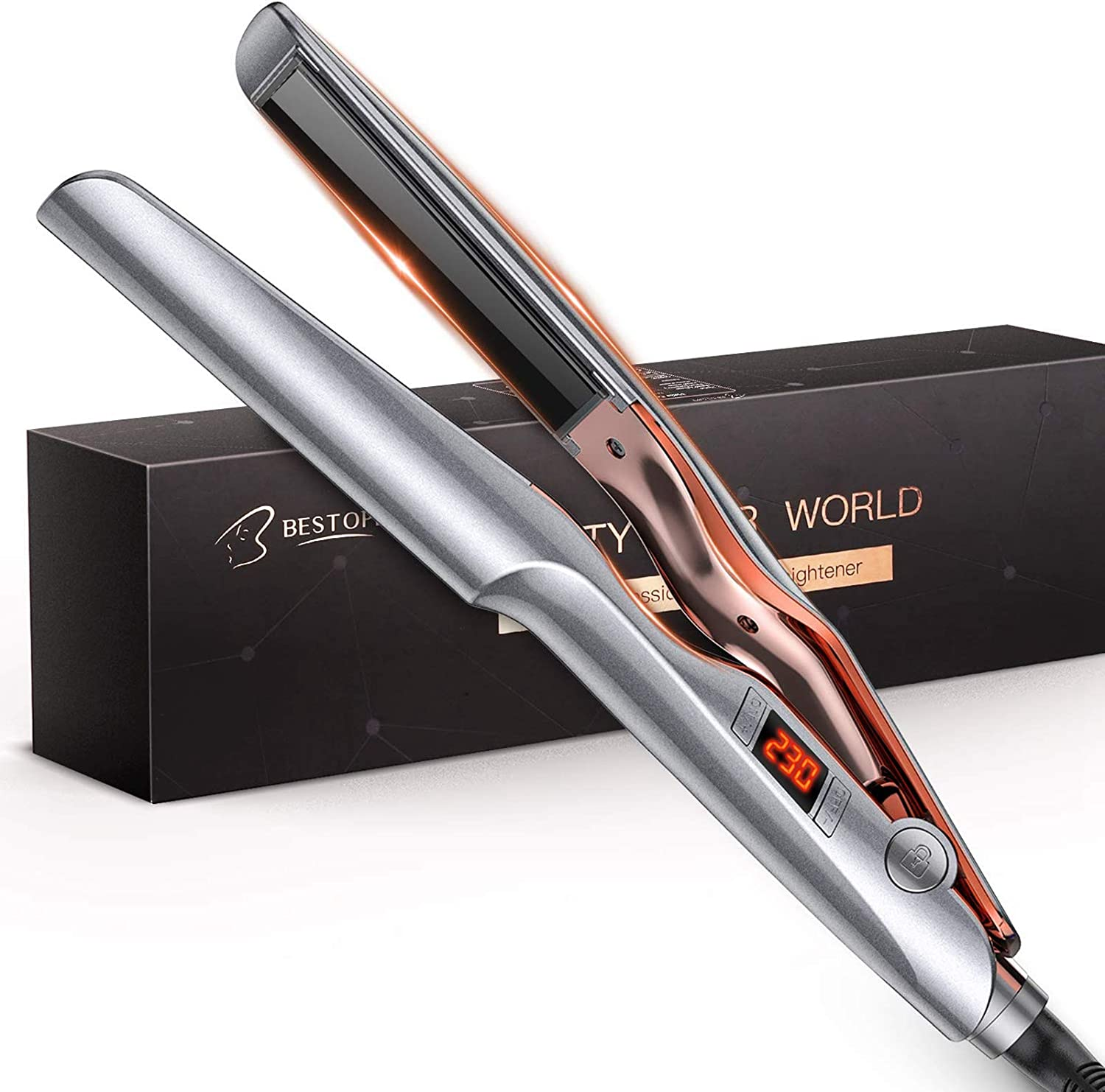 BESTOPE 2 IN 1 Flat Iron Hair Straightener and Curler, Ceramic Hair Iron with LCD Digital Display & Auto Shut-Off 53% OFF £15.99 @ Amazon