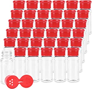 Kingrol 36 Pack Plastic Spice Jars with Red Sifter Caps, 2.5 oz Reusable Seasoning Jars for Powders, Herbs, Spices, Sauces