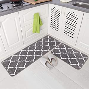 "Carvapet 2 Pieces Microfiber Moroccan Trellis Non-Slip Soft Kitchen Mat Bath Rug Doormat Runner Carpet Set, 17""x48""+17""x24"", Grey"