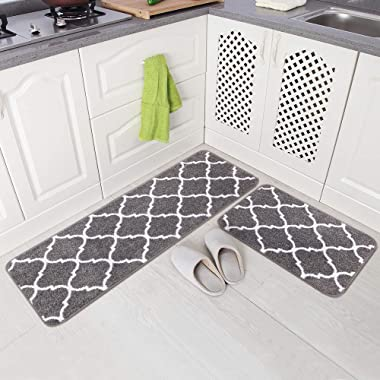 Carvapet 2 Pieces Microfiber Moroccan Trellis Non-Slip Soft Kitchen Mat Bath Rug Doormat Runner Carpet Set, 17 x48 +17 x24 , Grey