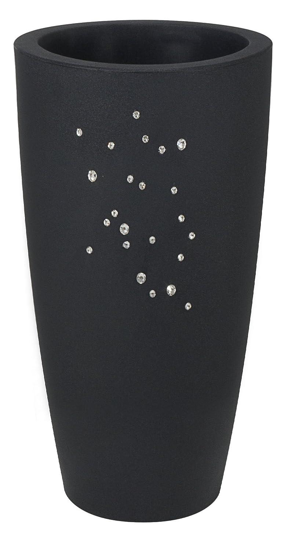 Blumentopf / Pflanztopf Nicoli Talos mit original Swarovski Kristallen, Motiv Constellation, Ø33 cm, Höhe 70 cm, anthrazit, matt, 15 l Inhalt, für Innen und Außen, aus hochwertigem Polyethylen