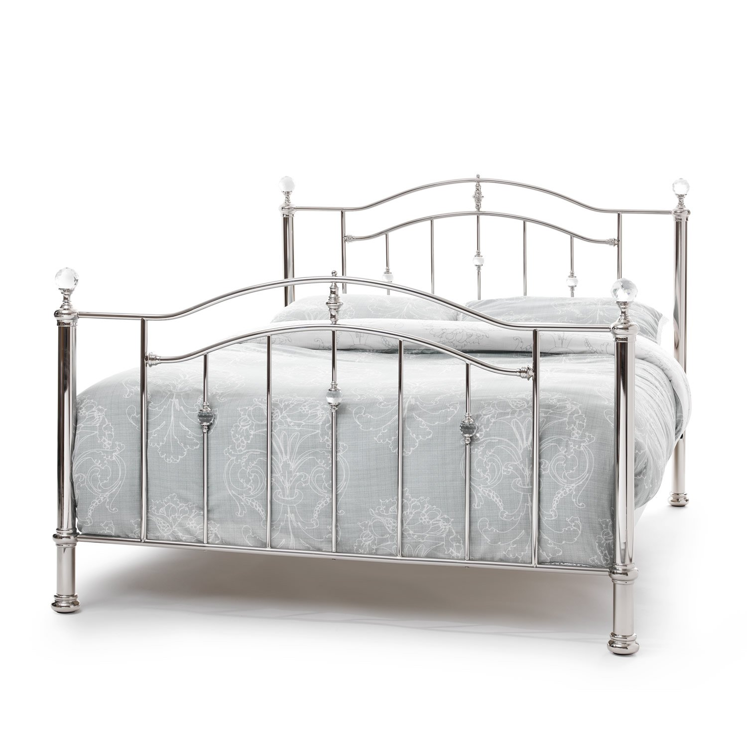 serene ashley nickel metal bed frame  small double bed frame  - serene ashley nickel metal bed frame  small double bed frame  ft bed silver bed frame amazoncouk kitchen  home