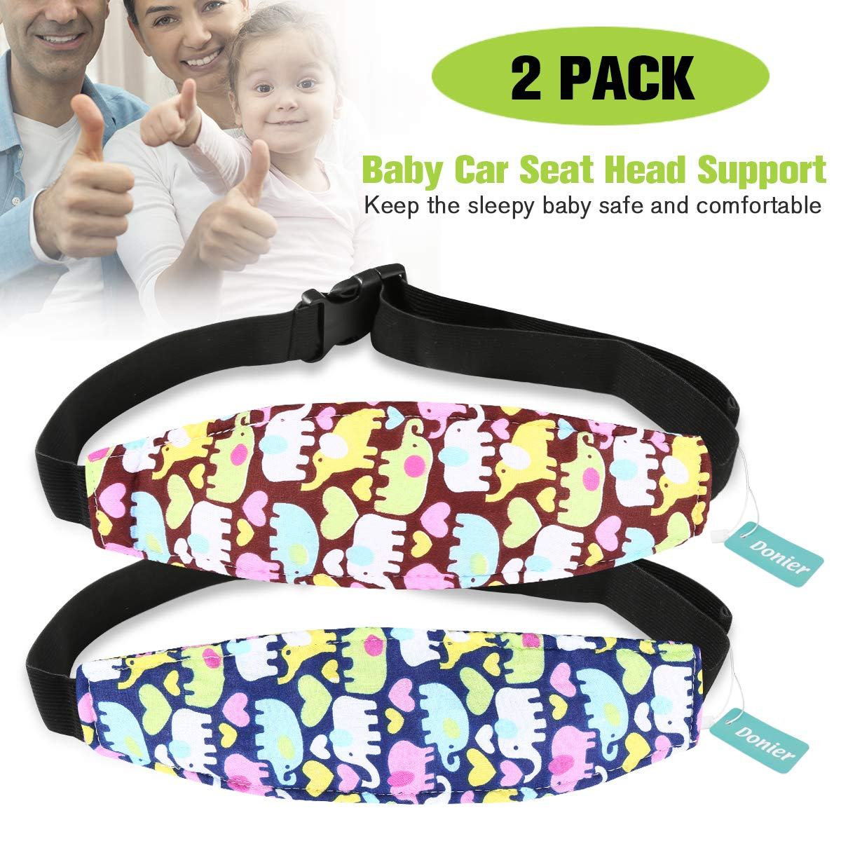 2 Packs Toddler Car Seat Neck Relief and Head Support, Pillow Support Head Band Easy Installation On Most Convertible Seats and Safety to Babies and Kids(Elephant)
