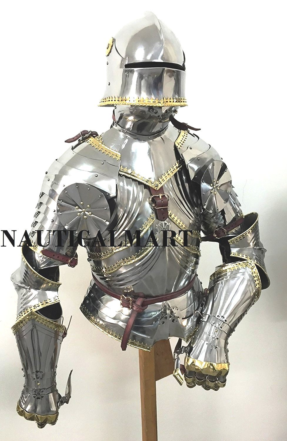 Medieval Reenactment Suit Of Armor Breastplate With Helmet Adult Costume