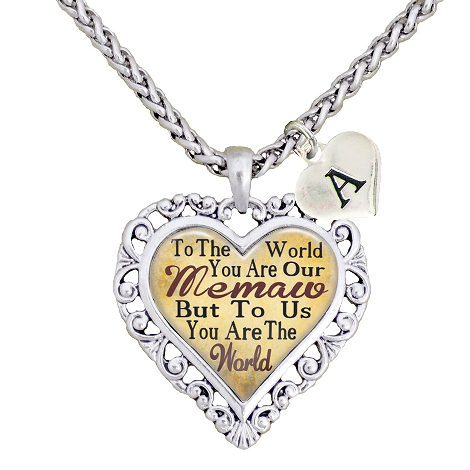 Custom Grandma You are the World To Us Heart Necklace Jewelry Choose Initial