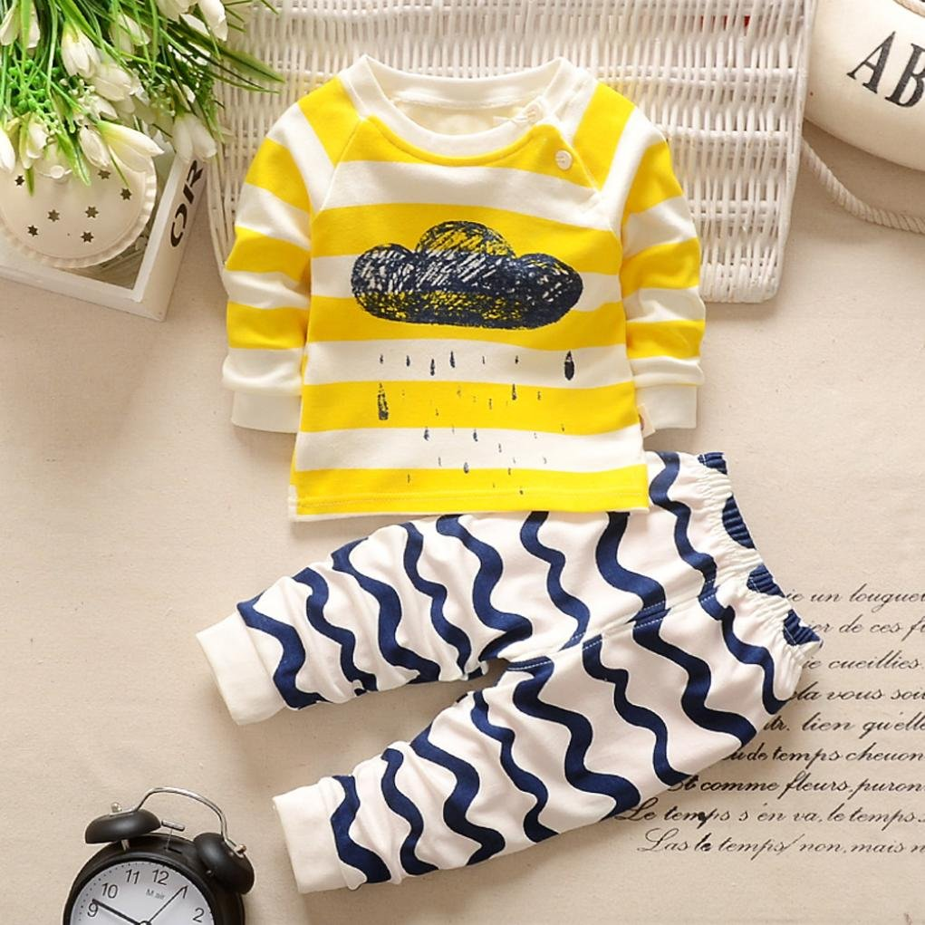 Fineser TM Toddler Infant Baby Boys Girls Cloud Print Pullover Sweatshirt Tops+Striped Pants Casual Clothing