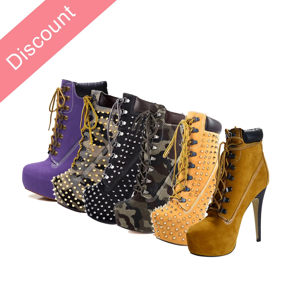 onlymaker Women's Rivet Studded Platform High Heel Pointed Toe Lace up Ankle Boots B013FLUH5I 11 B(M) US|Apricot