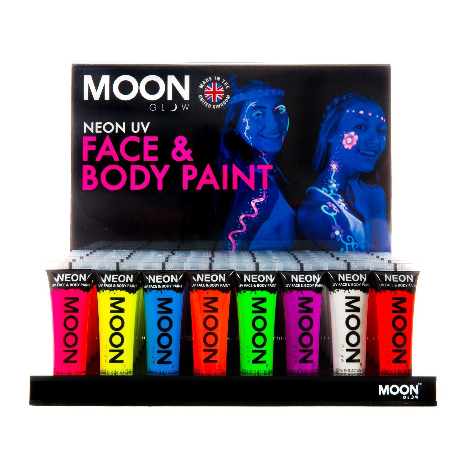 Moon Glow - Intense Neon UV Face & Body Paint - 0.42oz Display Case of 48 tubes - includes acrylic display stand