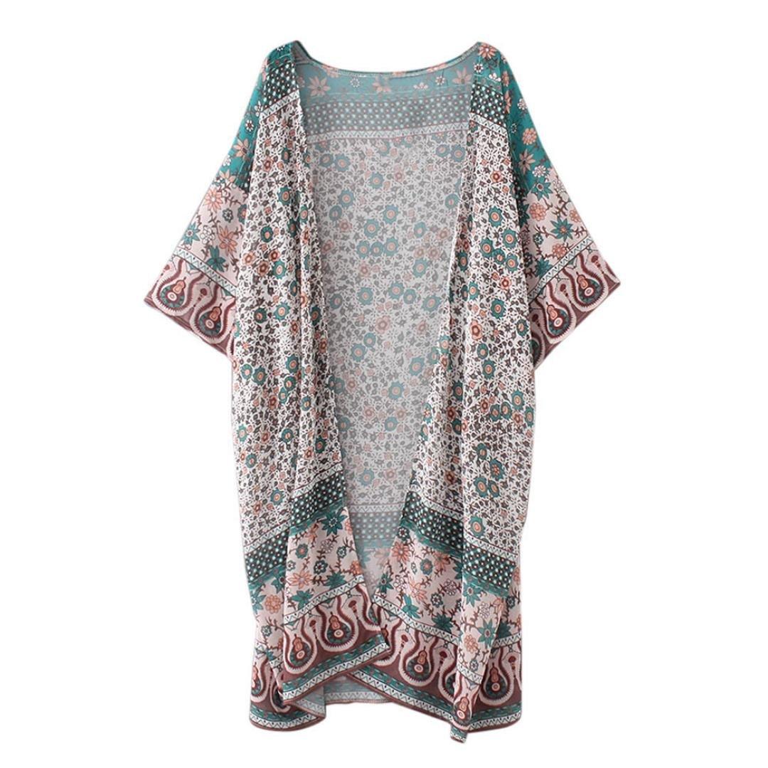 Fulltime(TM) Feitong Women Floral Print Chiffon Loose Shawl Kimono Cardigan Top LJL70313134
