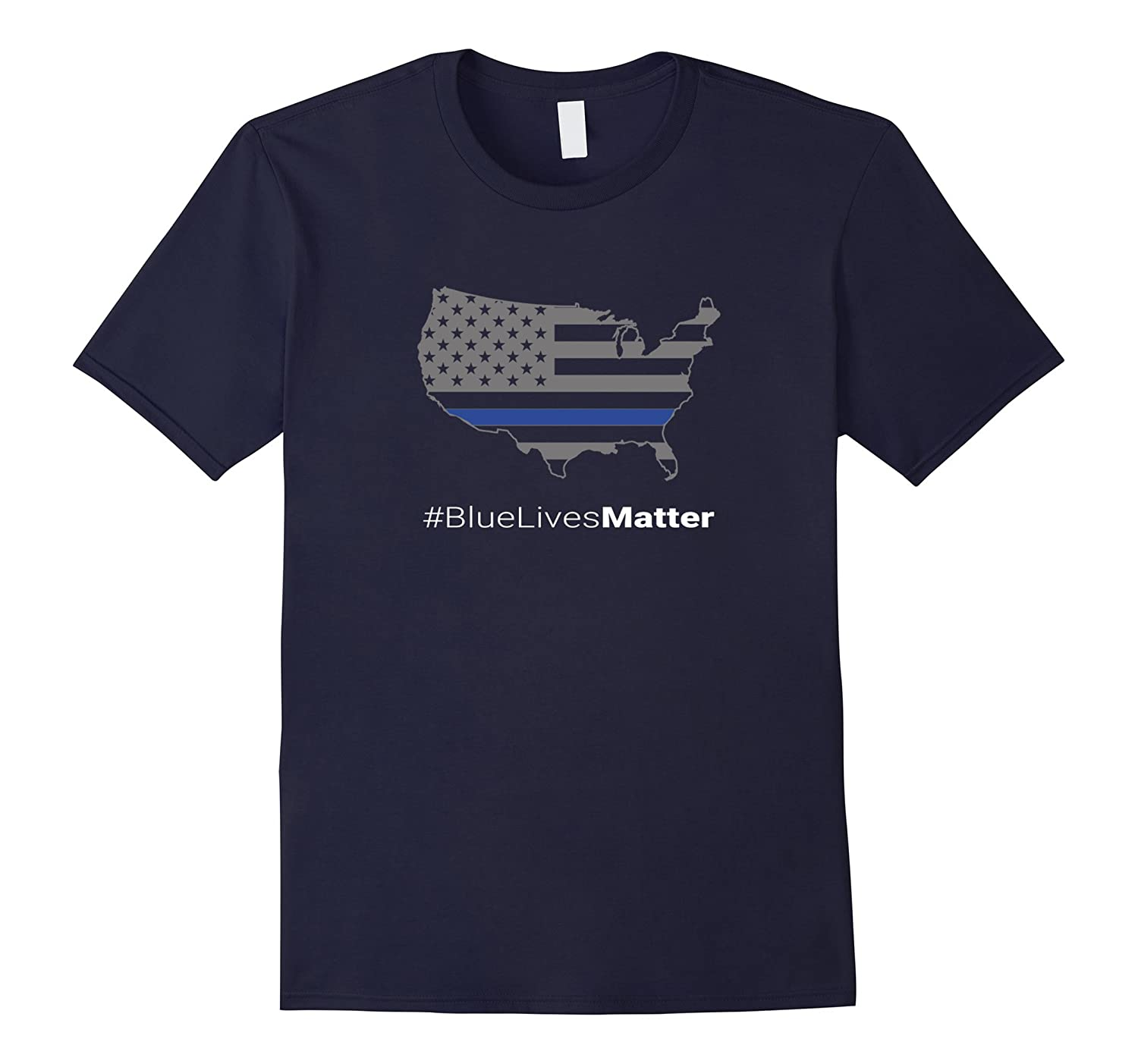 Thin Blue Line American Flag Blue Lives Matter T-Shirt-RT