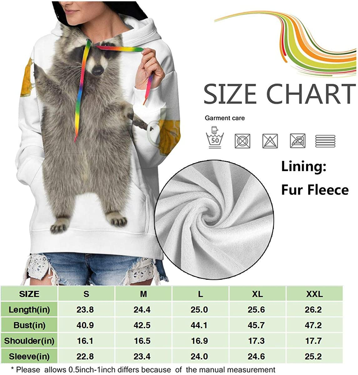 Racoon with Beer Womens Long Sleeve Pullover Hooded Sweatshirt Top Hoodie with Fleece Lining