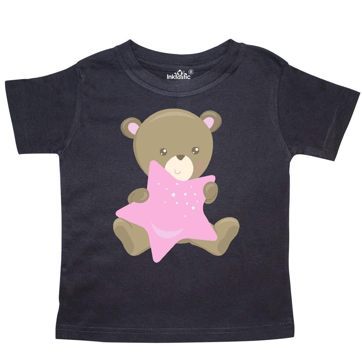 Cartoon Bear Toddler T-Shirt inktastic Baby Bear Holding a Pink Star