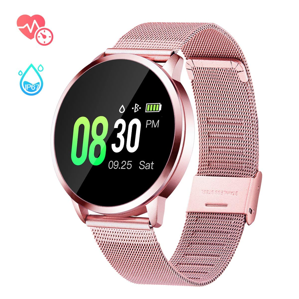 GOKOO Smart Watch for Women with All-Day Heart Rate Blood Pressure Sleep Monitor IP67 Waterproof Activity Tracker Calorie Counter Fitness Tracker Pink by GOKOO