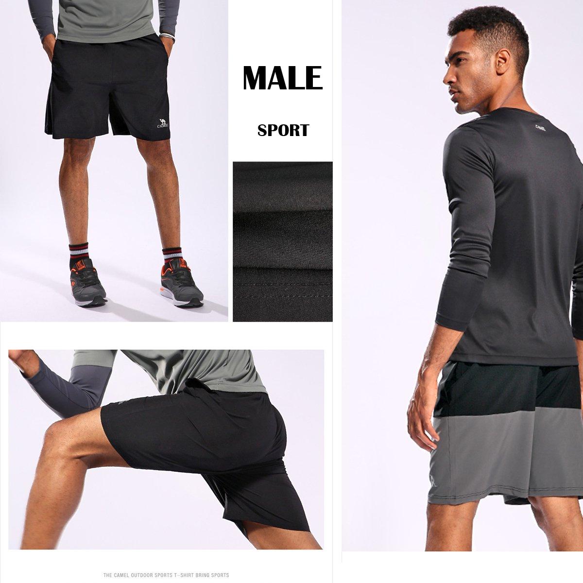 Camel Pantalones Cortos para Hombres Corriendo Pantalones de Entrenamiento de Gimnasio de Secado rápido Cortos atléticos Respirables equipados