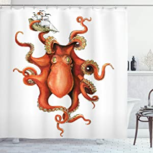 "Ambesonne Octopus Shower Curtain, Kraken Octopus Holding Sailing Ship in Tentacles Mythical Monster Nautical Theme, Cloth Fabric Bathroom Decor Set with Hooks, 84"" Extra Long, Orange White"