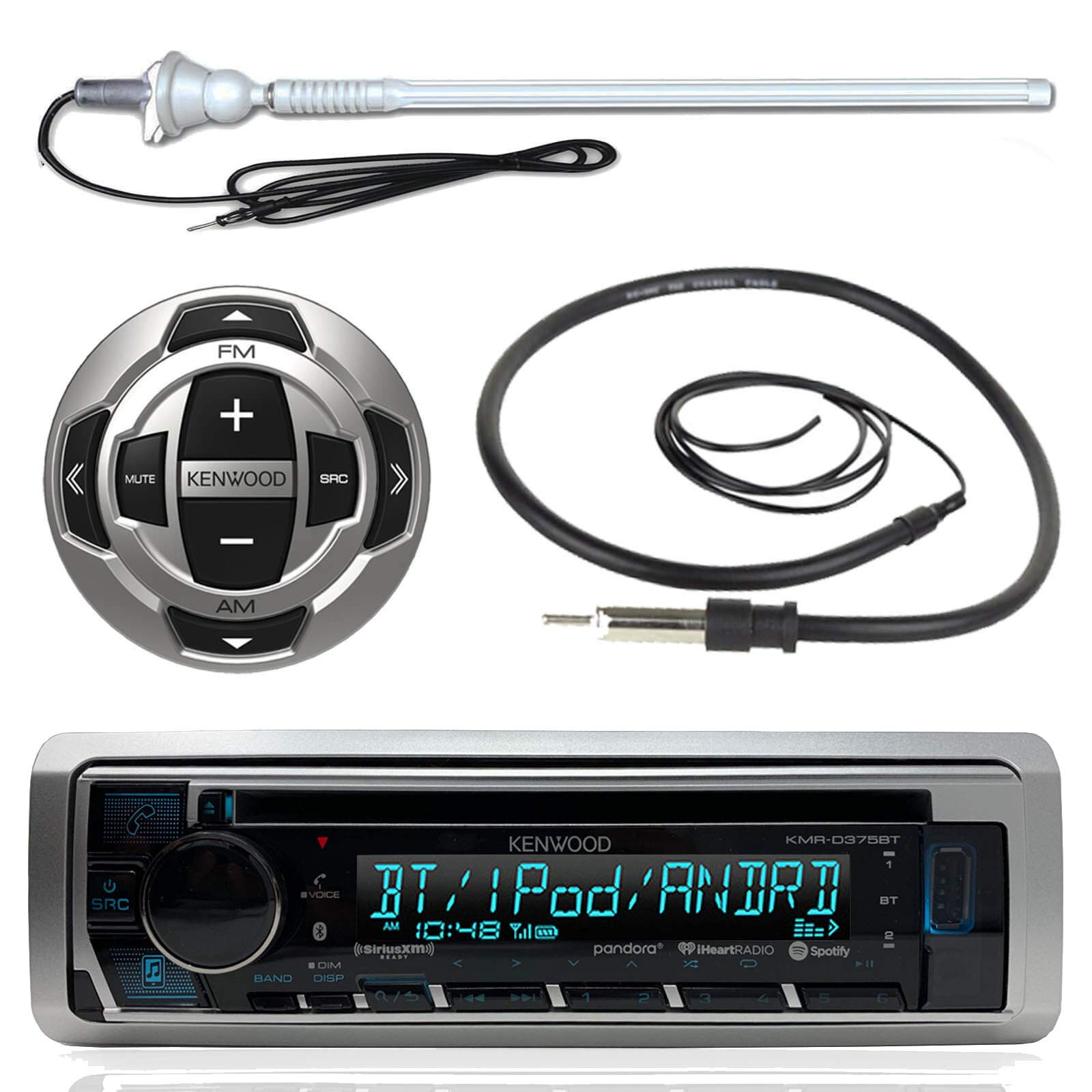 Kenwood MP3/USB/AUX Marine Boat Yacht Stereo Receiver CD Player Bundle Combo w/ RC35MR Wired Remote Control,  Enrock Water Resistant 22'' Radio Antenna, Outdoor Rubber Mast 45'' Antenna by Enrock Kenwood