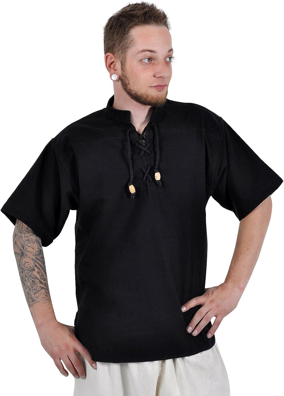 Camisa medieval de manga corta - hombre - cuello alto y acordonado - algodón - negra - XXXL: Amazon.es: Ropa y accesorios