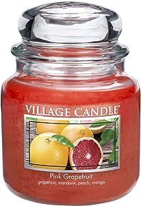 Village Candle Pink Grapefruit 16 oz Glass Jar Scented Candle, Medium