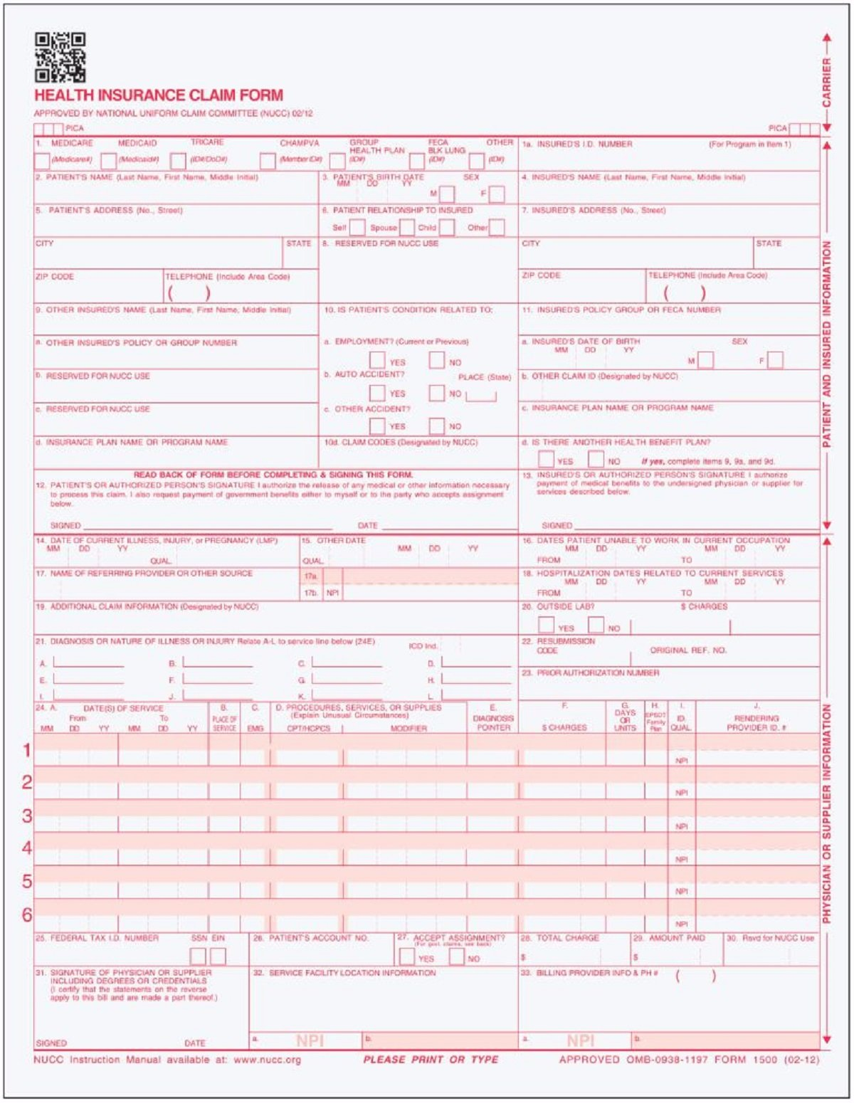 500 CMS 1500 Claim Forms – Current HCFA 02/2012 Version ''New Version''- Forms will line up with billing software and Laser Compatible- 500 Sheets – 8.5'' x 11''