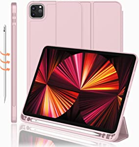 iMieet New iPad Pro 11 Inch Case 2021(3rd Gen) with Pencil Holder [Support iPad 2nd Pencil Charging/Pair],Trifold Stand Smart Case with Soft TPU Back,Auto Wake/Sleep(Pink)