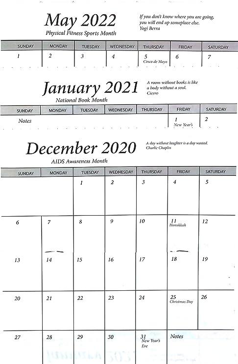 Calendar Year 2020.3 Year 2020 2021 2022 Pocket Calendar Planner Datebook Cardstock Cover One Calendar