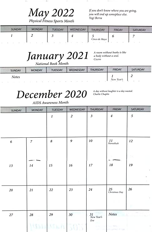 Pocket Calendar.3 Year 2020 2021 2022 Pocket Calendar Planner Datebook Cardstock Cover One Calendar