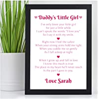 DADDY'S Little Girl PERSONALISED POEM Fathers Day Gifts from Daughter Presents - PERSONALISED with ANY NAME and ANY RECIPIENT - Black or White Framed A5, A4, A3 Prints or 18mm Wooden Blocks