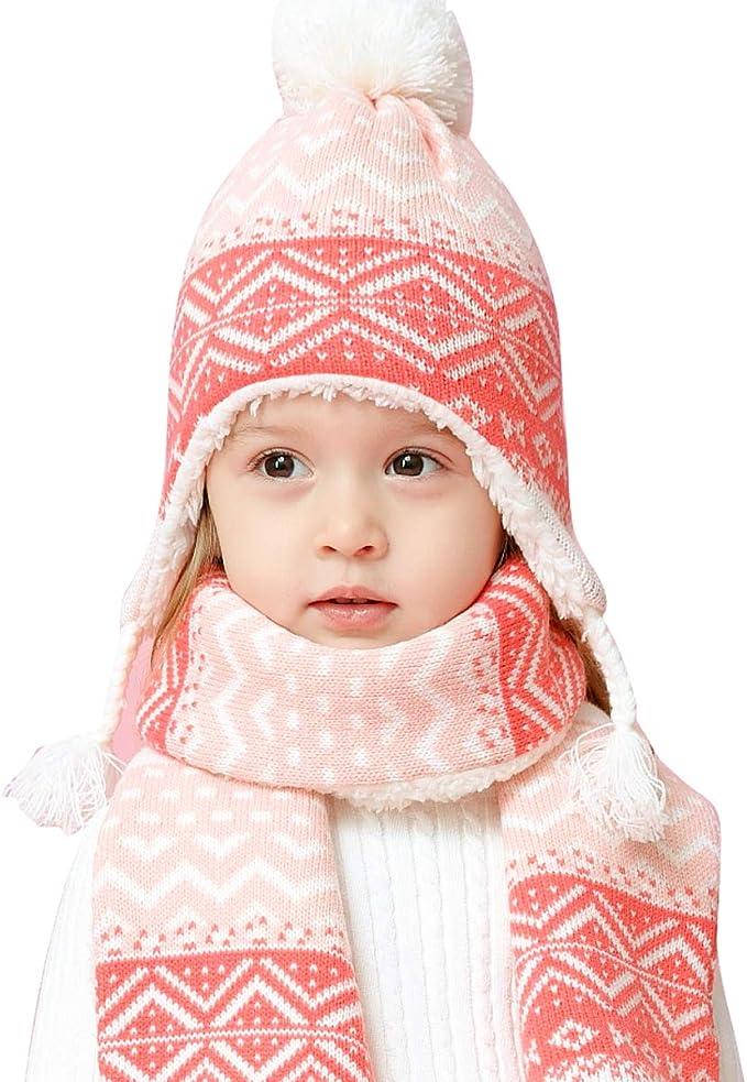 LAPLBEKE Unisex Baby Gorra Beanie Bebé Niña Punto Gorro Invierno ...