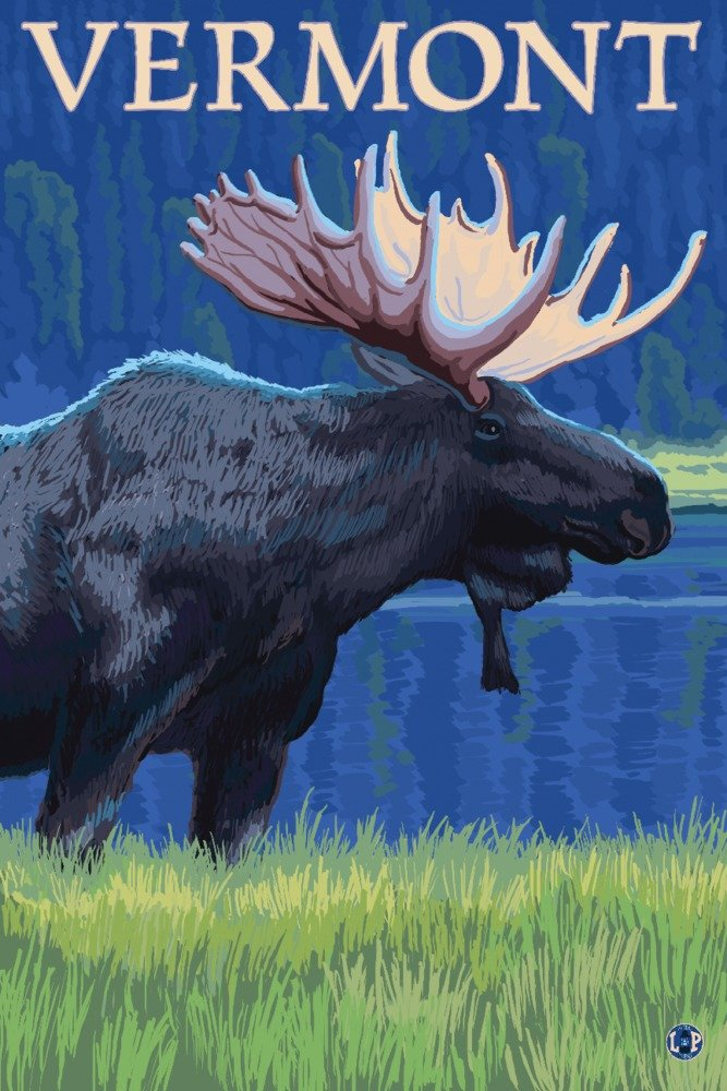 Vermont – Moose in the Moonlight 36 x 54 Giclee Print LANT-19532-36x54 B017E9YKG4  36 x 54 Giclee Print
