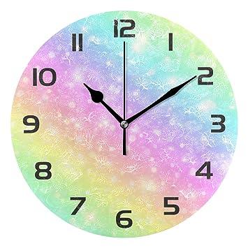 Reloj de pared con diseño de arcoíris y purpurina abstracta, acrílico, redondo, no se rasga con ...