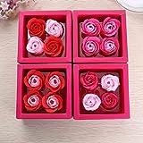 Wekold 4 Piezas Regalo Creativo Jabón Artificial Flor Rosa jabón Flores para la Fiesta de cumpleaños Día de San Valentín Decoraciones de Navidad
