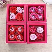Wekold 4 Piezas Regalo Creativo Jabón Artificial Flor Rosa
