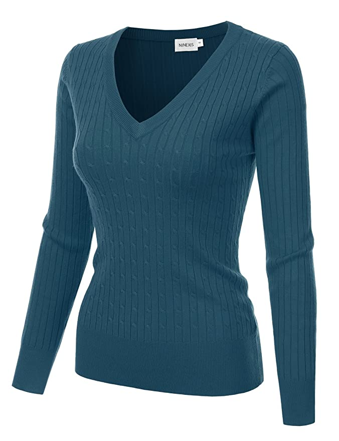 2e47f4c0cd NINEXIS Womens Long Sleeve V-Neck Twisted Knit Sweater Teal XL at Amazon  Women s Clothing store