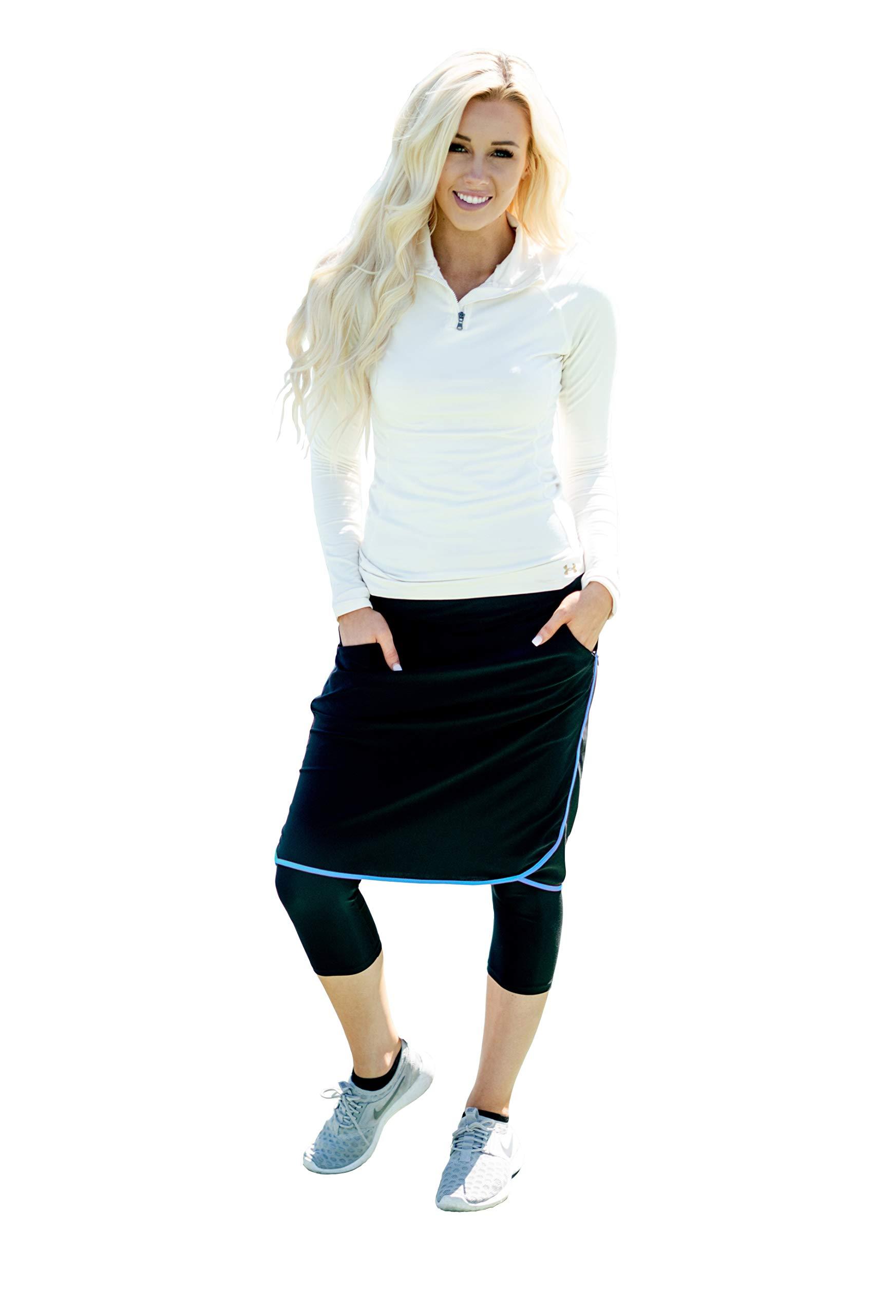 Ella Mae Sports Skirt for Women: Knee-Length Workout Skirt w/Attached Leggings Blue