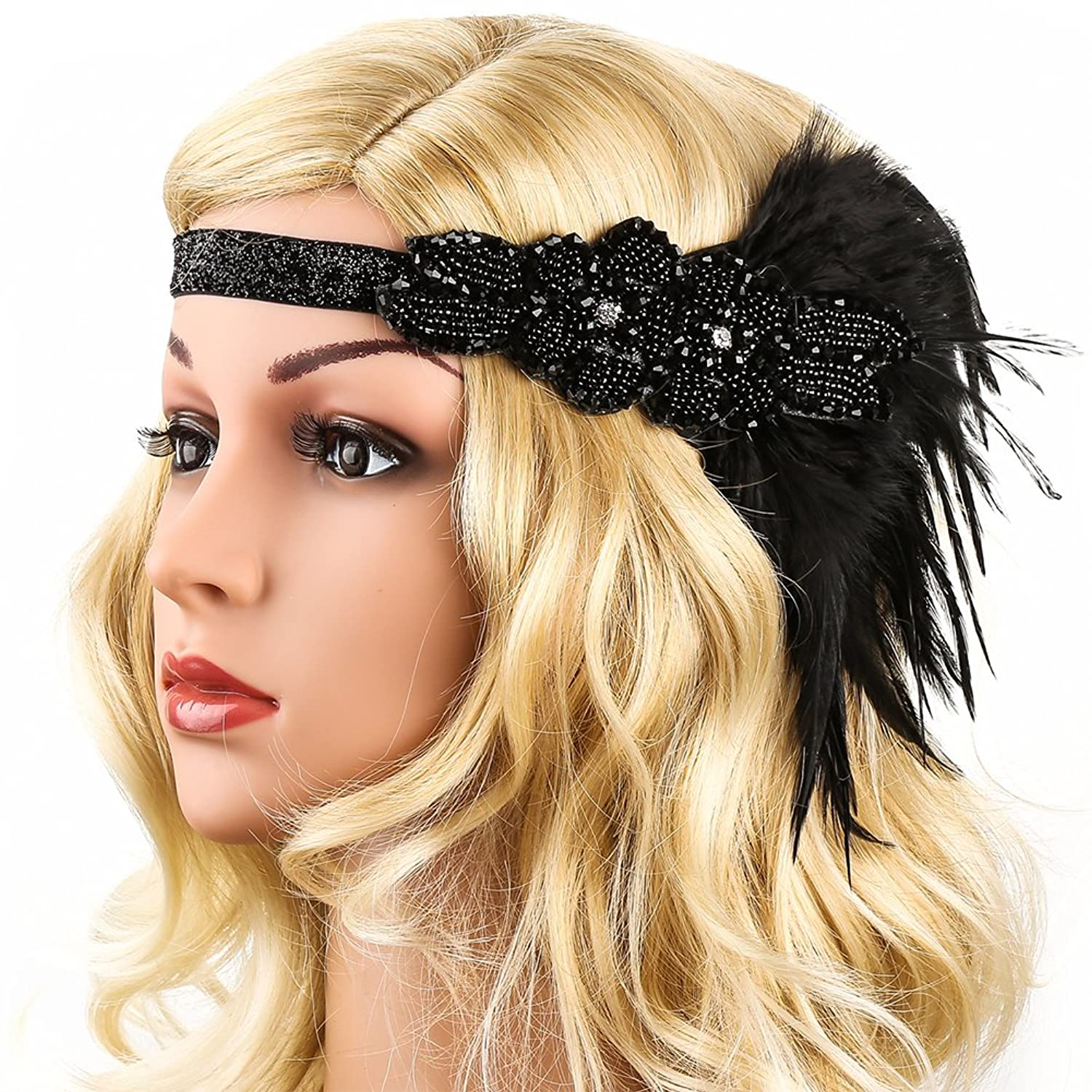 1920s Accessories | Great Gatsby Accessories Guide 1920s Headband1920s Headpiece - KQueenStar 1920s Flapper Headpiece1920s Feather Headband Flapper  AT vintagedancer.com