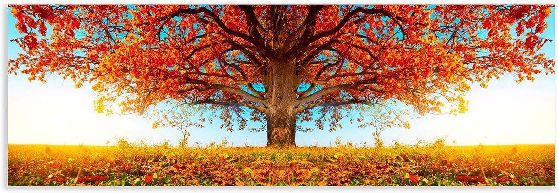 Cuadro de Árbol de la Vida Moderno Naranja de Lienzo para Dormitorio de 180 x 60 cm Bretaña - LOLAhome