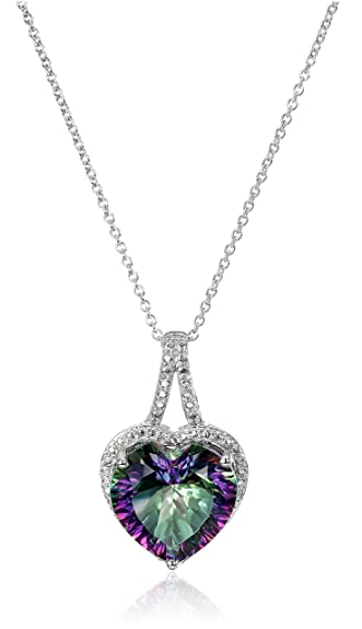 Amazon sterling silver mystic fire topaz and diamond accent sterling silver mystic fire topaz and diamond accent heart pendant necklace 18quot aloadofball
