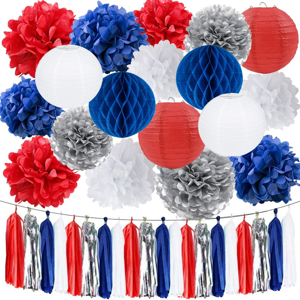 HappyField Nautical Party Decorations Navy Blue Red White Silver Tissue Pom Poms Paper Lanterns Tissue Tassel Garland 4th of July Decorations Patriotic Decorations Captain America Party Decorations