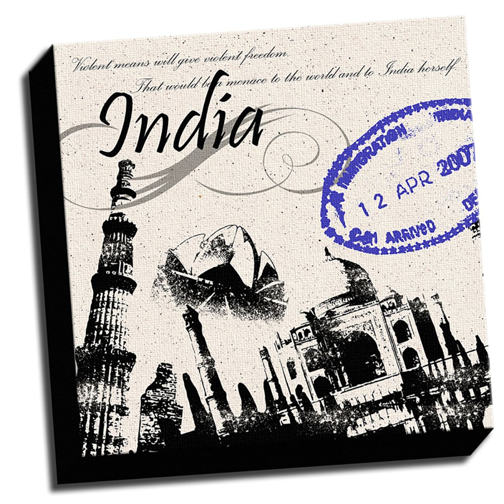 India Inspired 16''x16'' Wall Decoration Design Art Image Printed on Canvas Stretched and Framed Ready to Hang