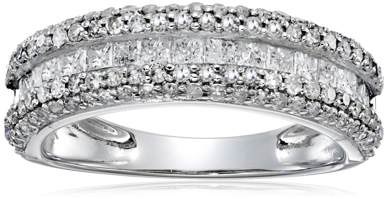 14k White Gold 1 cttw Diamond Band Ring, Size 8