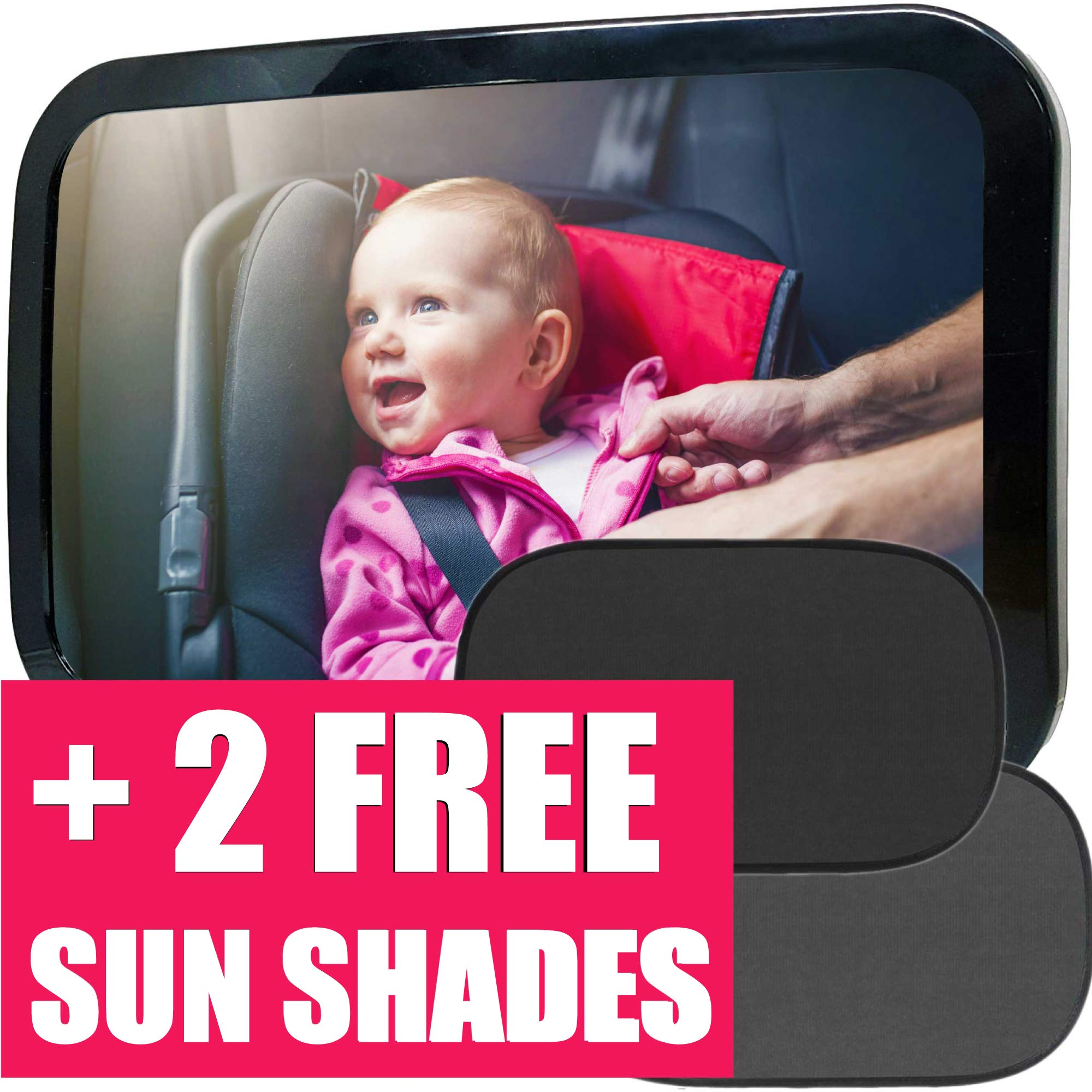 Baby Car Mirror |Baby Mirror for Car + 2 Free Sunshades|Safely Monitor Infant Child in Rear Facing Car Seat, Wide View Shatterproof Adjustable Acrylic 360°for Backseat, Crash Tested by DadsLove