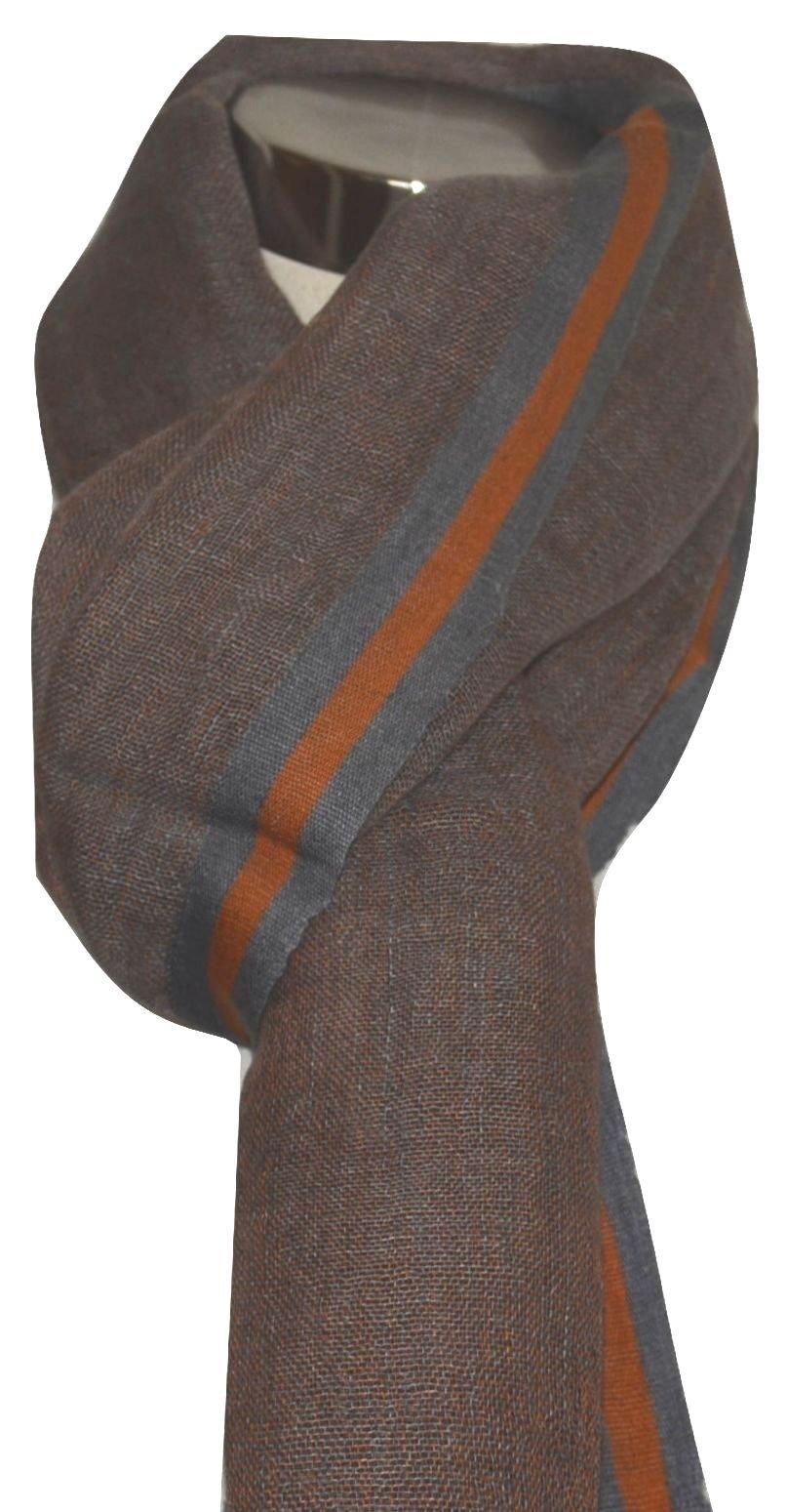 Hand Spun, Handwoven Shorty Weave Pure Linen Fabric Triple Stripe edge Scarf. X1424
